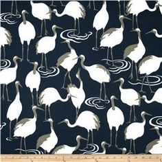 Navy White Bird Upholstery Fabric - Dark Blue Curtains with Birds - Animal Pillow Covers - Navy Linen Bedding Fabric - Custom Pillows Online Dark Blue Curtains, Bird Curtains, Robert Allen Fabric, Fabric Remnants, Animal Pillows, Home Decor Fabric, Drapery Fabric, Custom Pillows, Printed Cotton