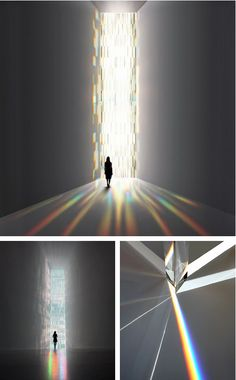 Tokujin Yoshioka-Rainbow Church(2010), awindow installation of 500 crystal prisms refracting light