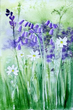 Original watercolour painting Bluebells and by lavendergeorge