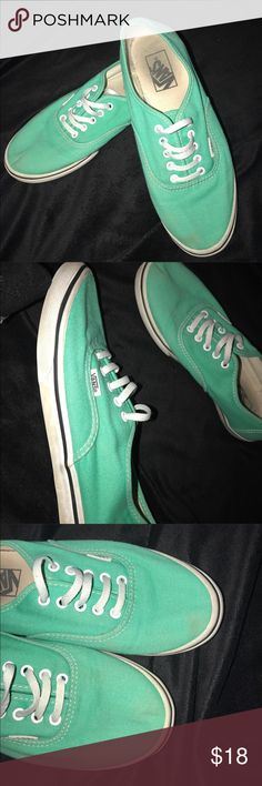 Teal vans Adorable shoes! They are an awesome color. There are a few light stains but nothing super noticeable. They are in good used condition!😊 make me an offer! Vans Shoes Sneakers