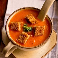 Tomato Soup Recipe with step by step photos. This is an easy to prepare restaurant style delicious tomato soup recipe. Tomato Soup Recipes, Healthy Soup Recipes, Dog Treat Recipes, Veg Recipes, Healthy Snacks, Vegetarian Recipes, Recipies, Cream Of Tomato Soup, Indian Soup