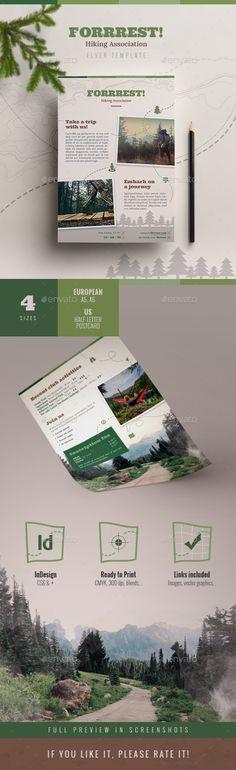 Forrrest! Nature Hiking Flyer Template InDesign INDD, AI Illustrator. Download here: http://graphicriver.net/item/forrrest-nature-hiking-flyer-template/16192122?ref=ksioks