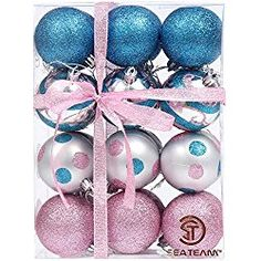 """Sea Team 60mm/2.36"""" Decorative Shatterproof Painting & Glitering Designs Christmas Tree Ornaments Christmas Balls Set in Harmonious Contrast Color, 24-Pack, Pink&Blue"""