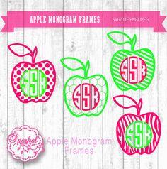 Apple Monogram SVG Frames Teacher by SparkalDigitalDesign on Etsy