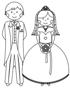 Bride and Groom - Free Printable Coloring Pages