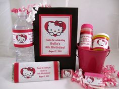 Hello Kitty Birthday Party Ideas | Hello Kitty Personalized Large Vertical Favor Tag (on treat bag ...
