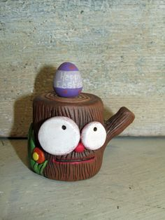 Easter stump with Easter Egg on top creey cuteness Janell Berryman Pumpkinseeds folk art by JanellBerryman on Etsy