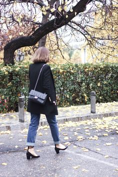Trini | black and denim outfit The Kooples black classic coay Chanel classic flap bag Mih Jeans Valentino Tango mid heels