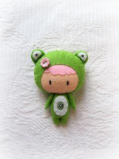 binky boo felt doll in a frog costume...