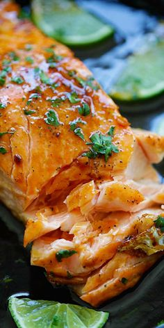 Honey Lime Salmon – sweet and zesty salmon with honey, lime juice and soy sauce. Takes 15 mins and great for tonight's dinner | rasamalaysia.com