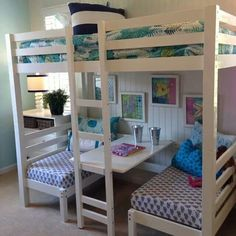 Double bed in top. Two singles in bottom that also double as benches