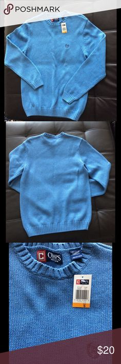 """NWT Chaps Ralph Lauren Crewneck Sweater BEAUTIFUL BLUE NEW 100% COTTON CREW NECK SWEATER by CHAPS  Medium weight. CHAPS fit and quality! MSRP $60.  This classic men's sweater from Chaps can be worn casually or more formally over a dress shirt.   Size: Men's Small Chest:  20"""" across chest at armpits,  Length: 27"""" back length bottom of collar to hem Sleeve: 26"""" shoulder seam to cuff  Features:  Embroidered dark blue Chaps logo.  Ribbed trim maintains its shape over frequent wears.  Machine…"""