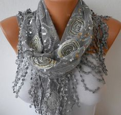 ON+SALE++Gray++Sequin+Scarf++Cowl+Scarf++fatwoman+by+fatwoman,+$17.10