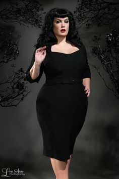 Pinup Couture Lorelei 1940's Style Plus Size Dress in Black   Pinup Girl Clothing