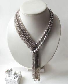 """Krawatte mit grauen Perlen und Achat """"Tropical Rain"""" – Diy Schmuck Tie with gray pearls and agate """"Tropical Rain"""" – Diy Jewelry Bead Jewellery, Pearl Jewelry, Beaded Jewelry, Jewelery, Jewelry Necklaces, Handmade Jewelry, Beaded Necklace, Agate Necklace, Jewellery Shops"""