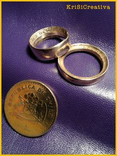 Rings made by coins from Republica de Chile. Handmade by KriSiCreativa