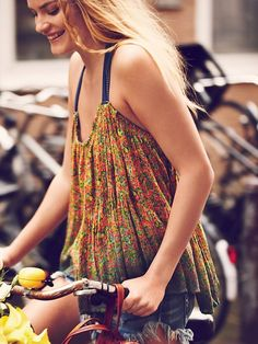 Free People FP ONE Happy Blossoms Dip Dye Tank