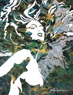 "Original Art , Female Figure in Mixed Media (handmade paper on paper) & metallic paint ""Arising"" by Marcy Ann Villafaña Caribbean Art, Funky Art, Stencil Art, Mosaic Art, Mosaics, Whimsical Art, Beach Art, Tree Art, Artists"