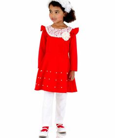 Love this Red Lace Dress & White Leggings - Girls by Dolce Liya on #zulily! #zulilyfinds