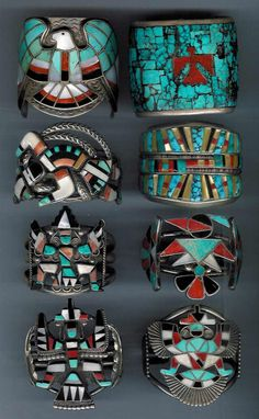 Native American Handmade Jewelry (this is INLAY Turquoise, Coral and Ebony & the Zuni were more than likely the makers of these INLAY Bracelets)