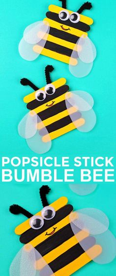 This Popsicle Stick Bumble Bee Craft is such an adorable and simple craft. Great… This Popsicle Stick Bumble Bee Craft is such an adorable and simple craft. Great for preschool or kindergarten! Popsicle Stick Art, Popsicle Stick Crafts For Kids, Craft Stick Crafts, Preschool Crafts, Craft Art, Craft Stick Projects, Art Projects, Craft Ideas, Preschool Kindergarten