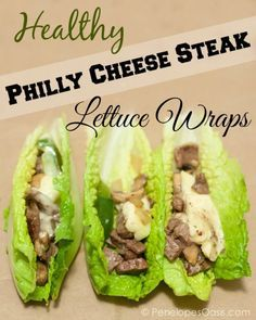 Healthy Philly Cheese Steak Lettuce Wraps recipe #food