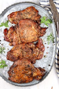 Easy Marinated Pork Chops are flavorful and delicious. Perfect for grilling or baking. Just a few simple pantry ingredients come together for an incredibly tasty dinner for any night of the week. Marinated Pork Chops Grilled, Balsamic Pork Chops, Grilled Meat, Easy Pork Chop Recipes, Pork Rib Recipes, Egg Recipes, Fall Recipes, Bbq Pork Ribs, Pork