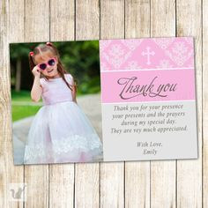 Formal Baptism Thank You Card | Baptism announcement