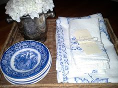 Basket with old linens