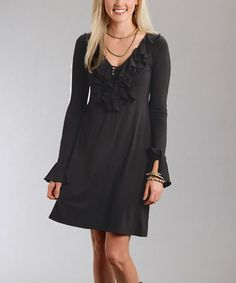 Look what I found on #zulily! Black Ruffle V-Neck Dress - Women #zulilyfinds