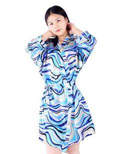 Find Dress Women's Knee-length Fashion Silk Satin Multicoloured Kimono Robe for Bride