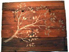 stencils & distressed wood (wall art, coffee/side table, etc.)