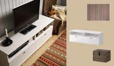 BORGSJÖ white TV bench with drawers and built-in cable management - add different knobs