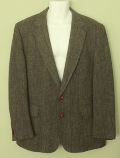 100% Wool Vintage Alexander Shields Men's Blazer - 44R - Mixed Herringbone #AlexanderShields #TwoButton