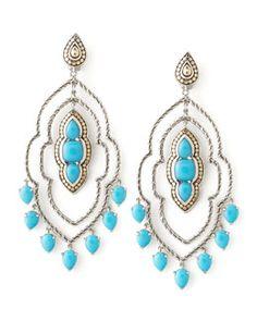Y1H6Q John Hardy Batu Dot Morocco Chandelier Earrings, Turquoise