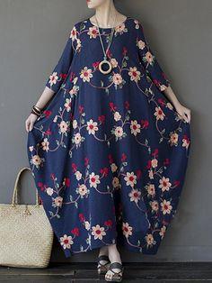 Vintage Women Floral Embroidered Half Sleeve Irregular Robe Dress - Banggood Mobile