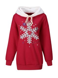 Christmas Glitter Snowflake Color Block Embroidery Hoodie