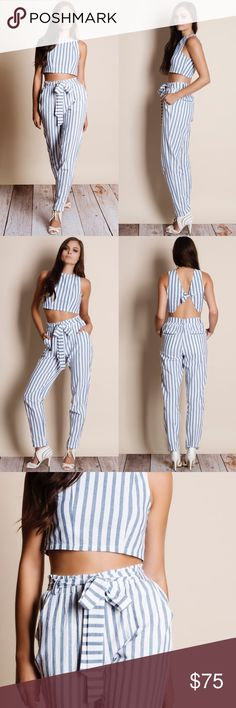 "Striped Crop Top Pants Set Striped crop top pants set. Crop top is a tie back. Pants come with tie front belt. Junior Sizing. This is an ACTUAL PIC of the item - all photography done personally by me. Model is 5'9"", 32""-24""-36"" wearing the size small. NO TRADES DO NOT BOTHER ASKING. PRICE FIRM. Bare Anthology Pants"