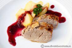 muschiulet-de-porc-cu-sos-de-prune-3 Carne, Mashed Potatoes, Steak, Favorite Recipes, Ethnic Recipes, Pork, Fine Dining, Whipped Potatoes, Steaks