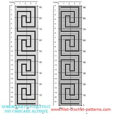 filet crochet Free filet border with geometric greeks Filet Crochet, Crochet Granny, Diy Crochet, Crochet Border Patterns, Mosaic Patterns, Knitting Patterns, Crochet Bookmarks, Crochet Shirt, Tapestry Crochet