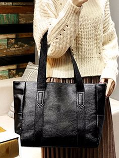 Easy Match Solid Pu Tote Bag