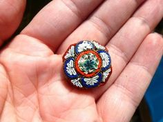 ANTIQUE VINTAGE VICTORIAN MICRO MOSAIC HEXAGON PIN BROOCH SIGNED ITALY #ITALY
