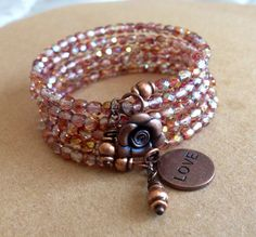 Shimmery Faceted Czech Glass and Copper Memory by McHughCreations