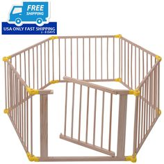 Baby Playpen 6 Panel Foldable Wooden Frame Kids Safety Play Fence In/Outdoor.