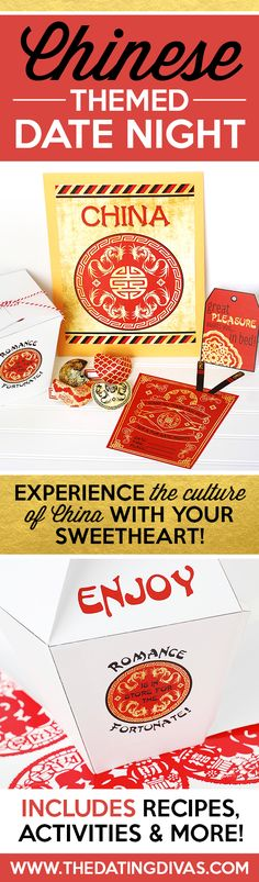 Love these ideas for a Chinese themed date night! Cute printables with fun games and recipes!