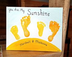 """You Are My Sunshine"" Sibling Footprint Canvas - Crafty Morning"
