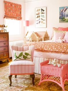 Monochrome Medley - This pretty pink bedroom shows just how lively a monochromatic palette can be. Multiple patterns enrich the bedding, window treatments, and furnishings without overpowering the small room. The trick is to limit the playful motifs to one color scheme, in several tints and shades, and mix in solid color accents.
