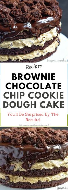 This decadent Brownie Chocolate Chip Cookie Dough Cake is a chocolate dessert recipe that you don't want to miss! Today's Brownie Chocolate Chip Cookie Dough Cake was a labor of love. Brownie Desserts, Brownie Recipes, Chocolate Desserts, Just Desserts, Cookie Recipes, Delicious Desserts, Dessert Recipes, Yummy Food, Chocolate Brownies