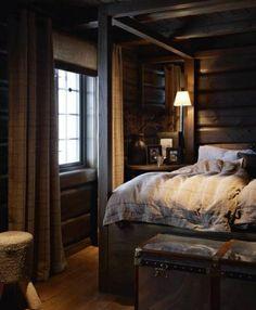 cozy cabin bedroom - A Interior Design Airy Bedroom, Wood Bedroom, Dream Bedroom, Home Decor Bedroom, Bedroom Ideas, Dark Cozy Bedroom, Master Bedroom, Peaceful Bedroom, Comfy Bedroom