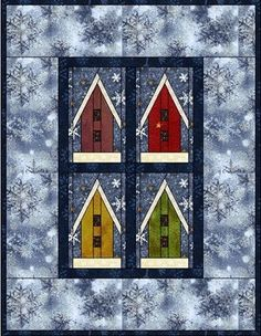 birdhouses, craft, spring colors, fall quilting patterns, birdhous paper, birds, piec pattern, paper piecing patterns, bird hous